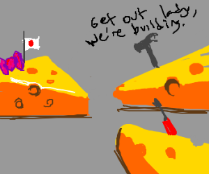 Japanese woman and 2 builders are cheese