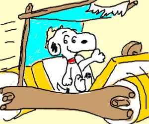 Snoopy in Flintstone's car