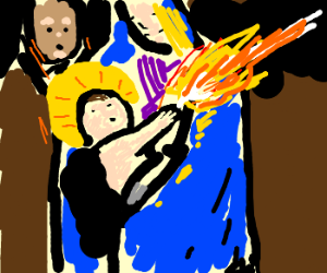 Baby Jesus has flame powers!