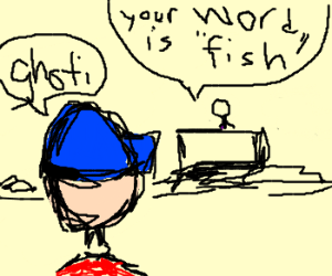 little kid doesn't know how to spell fish