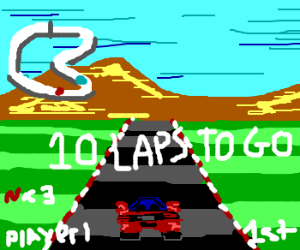 Car in racing game has 10 more laps to go