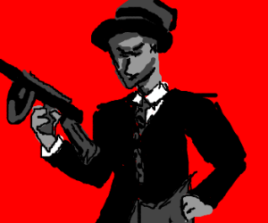 30's gangster with tommy gun in a spotlight