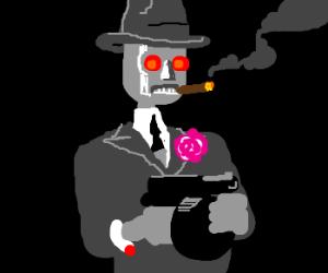 Metal gangster in 30s duds.