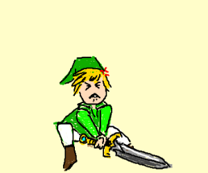 Link can't get it up....his sword that is.