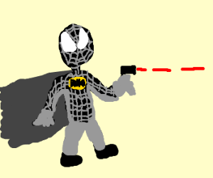 batman-spider shoots his laser