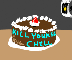 GlaDOS taunting chell with cake, again.