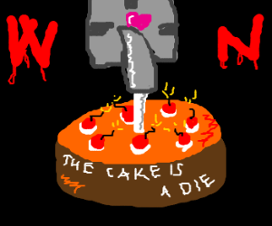 GLaDOS makes Chell a special suicide cake.