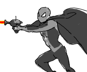 Grey Spidey with cape shoots ray gun