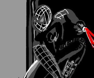 Noir Spiderman fires a zap gun.