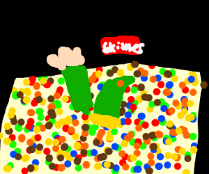 Link drowns in a pool of skittles.
