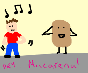 Man does the Macarena with a potato