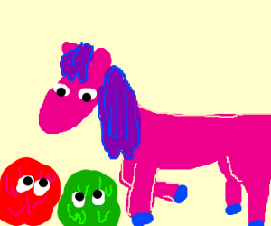 Red blob & Green blob with a pink horse