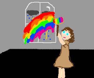 Girl paints window with giant rainbow paintbru