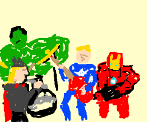 Avengers perform as a rock band.