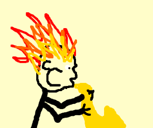 Man plays sax while his hair is on fire