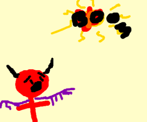 Satan is horrified to see the sun explode