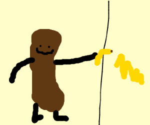 Turd guy draws on the wall with a banana