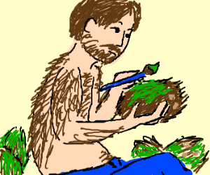A hairy man painting coconuts green
