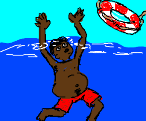 Pregnant black man is drowning