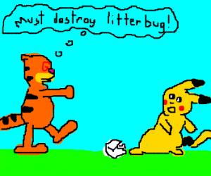 Hypnotizzed Garfield mad at Pikachu littering