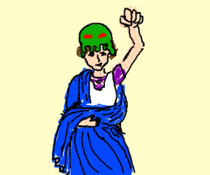 Roman woman in cthulu hat raises fist
