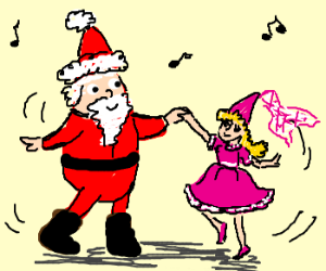 Santa Claus dances with little princess