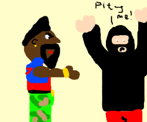 Mr. T beats up bank robber.