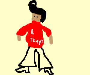 Elvis in a red A-team sweater