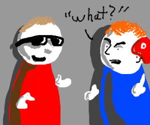 A blind man talks to a meaf man