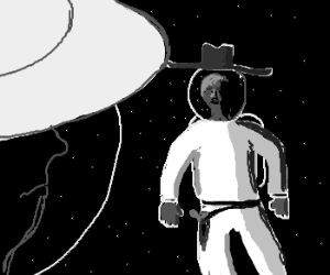 A face-off between cowboys in outer space