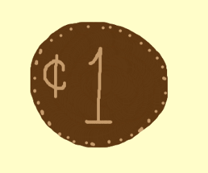 A brown penny