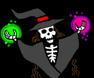 Skeletal Witch shows her magic