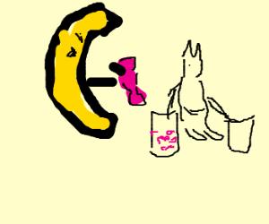 An evil banana steals candy from a kangaroo