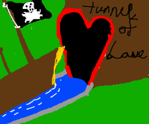 A pirate ship sails through the tunnel of love