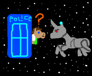 "Tardis followed by a mecha-unicorn: Doctor ""?"""