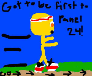 You are Yellow Guy, in a race to panel 24. Go!