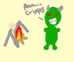 Dragooon!!! eating a hand of a human
