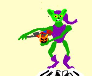 Green Goblin cooks Spiderman's hand