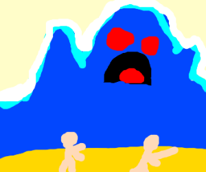 Wave monster attacks land dwellers