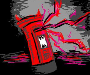 Demonic postbox sending out red lightning.