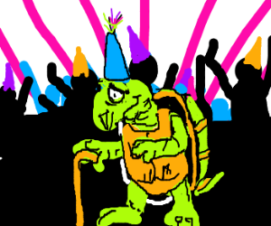 Old Turtle likes to party