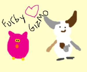 Furby meets Gizmo... someone get some water!