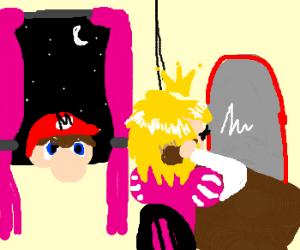 Mario is stalking Princess Peach, with haircut