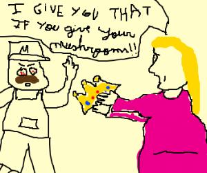 Peach gives Mario a golden crown