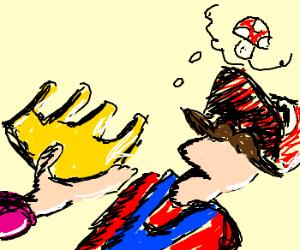 Peach offers crown, mario is on mushrooms