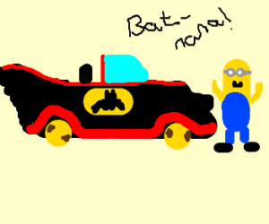 Minions switched Batmobile's tires w/ bananas.