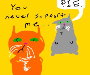 orange cat doubtful dumb grey cat supports him