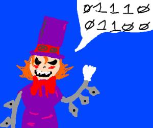 Peacock (Skullgirls) speaks in binary code