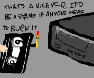 Rented VHS burns up guy's VCR
