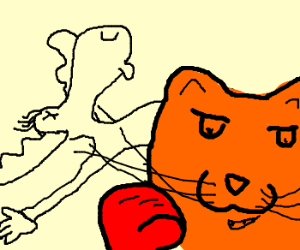 An orange cat punched out Bullwinkle!